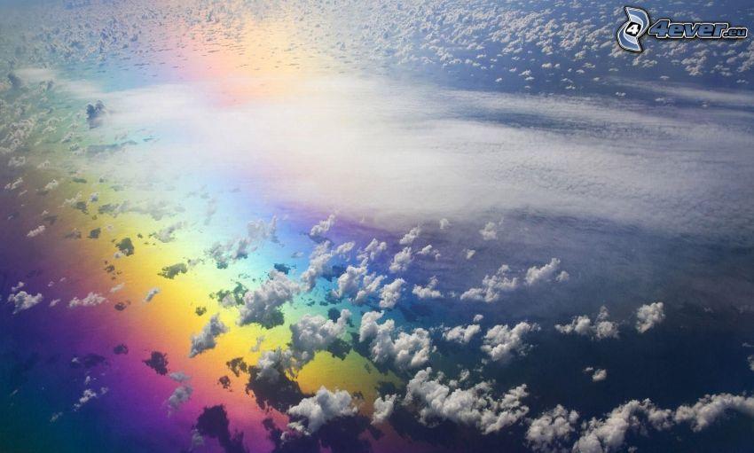 arco iris, nubes