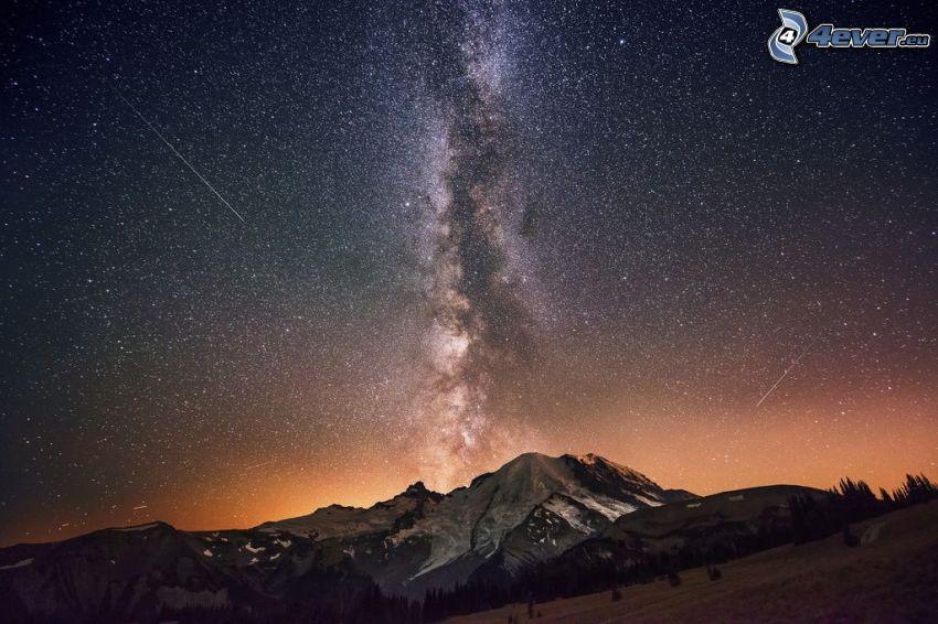cielo de noche, Vía Láctea, montaña