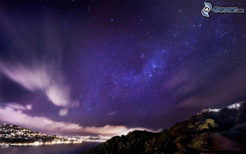 cielo estrellado, roca