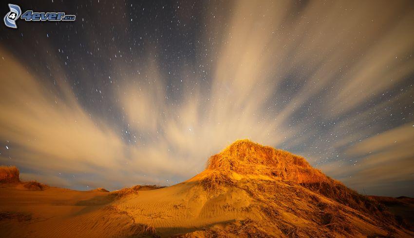 colina, cielo estrellado