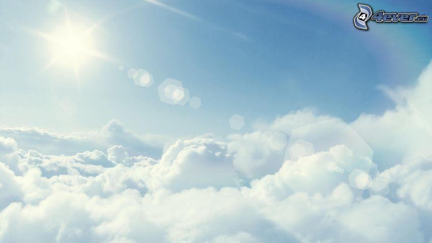 encima de las nubes, sol