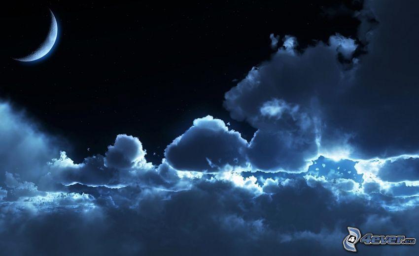 noche, nubes, mes
