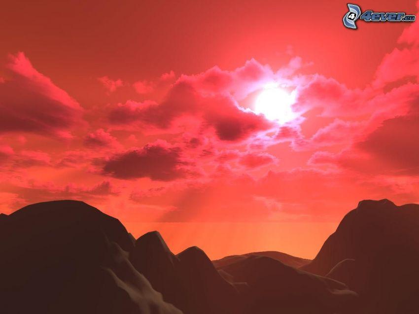paisaje digital, puesta del sol, cielo de color rosa
