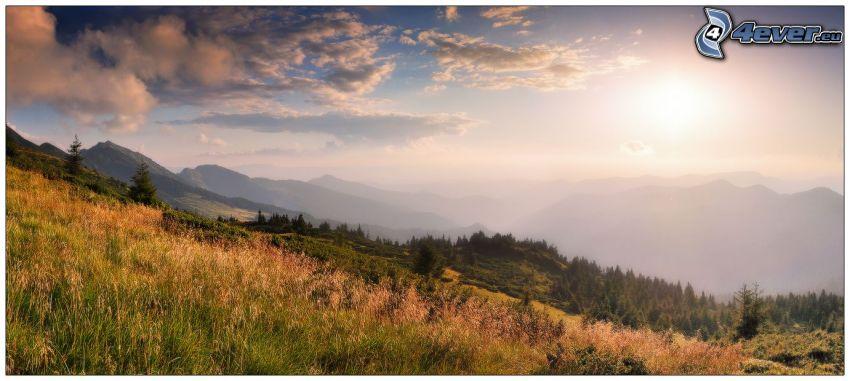 colina, hierba, nubes