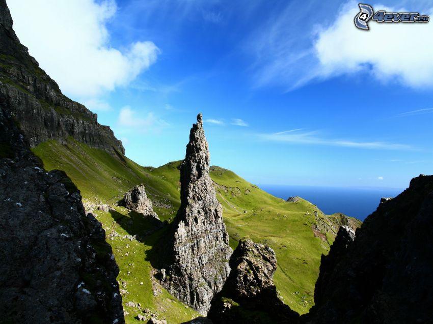 colina, rocas, prado, mar, nubes