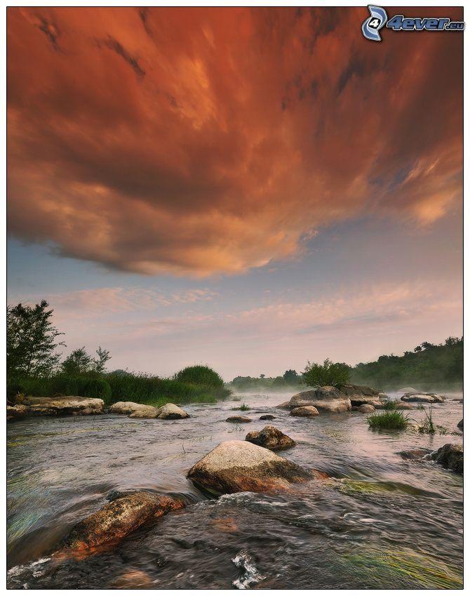 corriente, piedras, nube