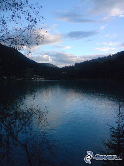 crepúsculo, lago, montaña