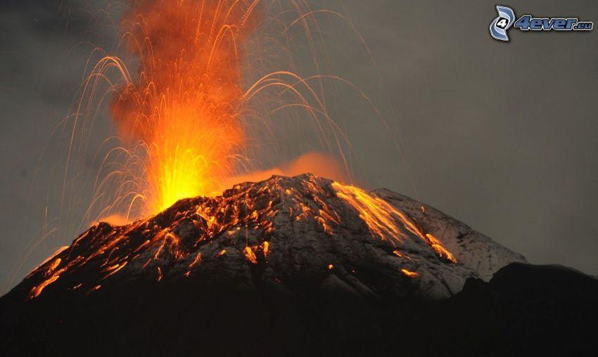 erupción de volcán, lava