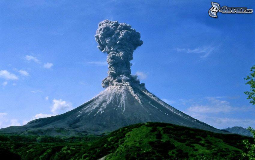 erupción de volcán, nube volcánica