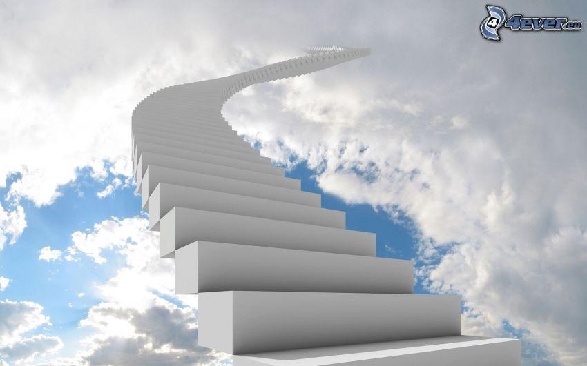 escalera al cielo, nubes
