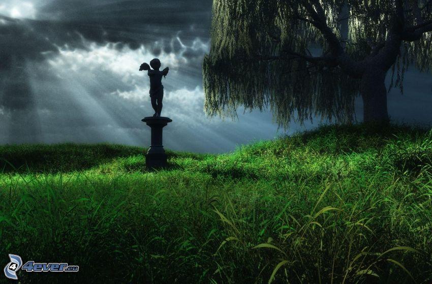 estatua, ángel, árbol, rayos del sol detrás de las nubes