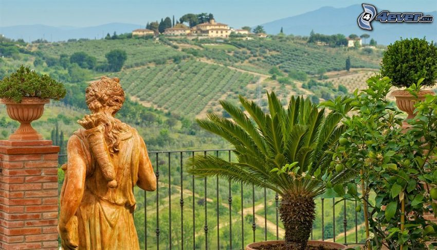 estatua, palmera, balcón, casa en la colina