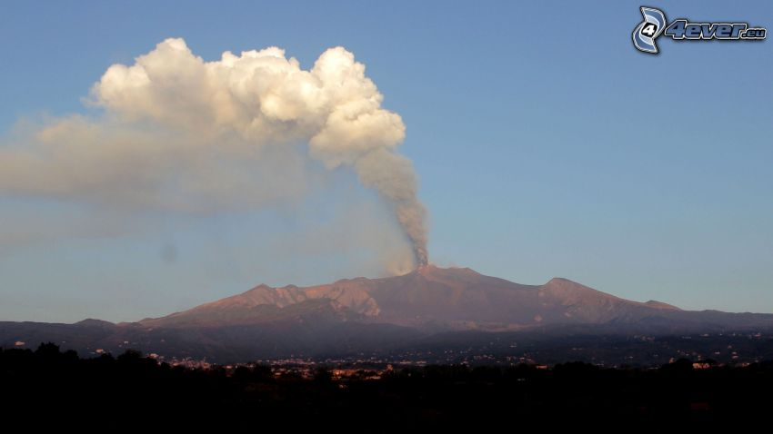 Etna, volcán, sierra, humo