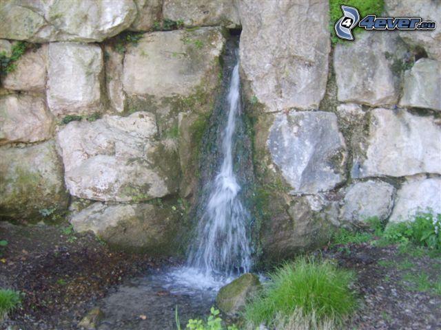 fuente, agua, muro de piedra