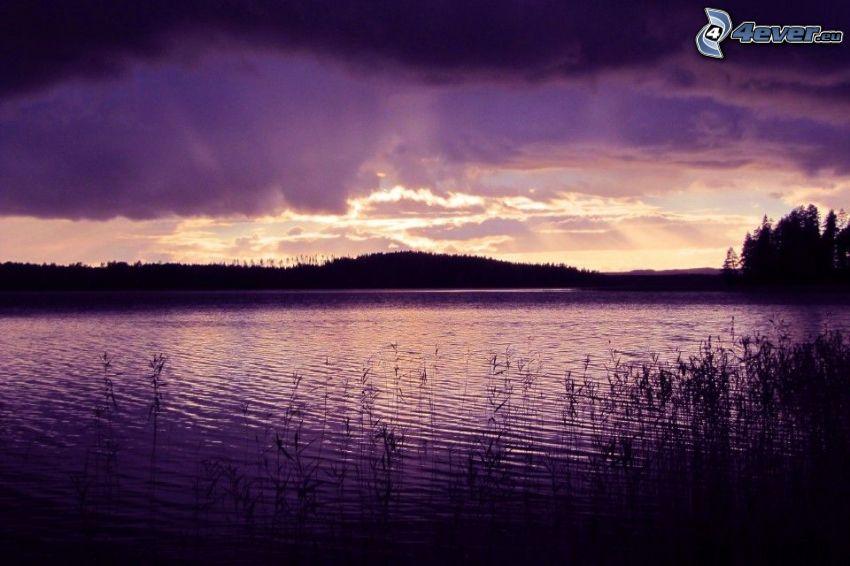 lago, atardecer