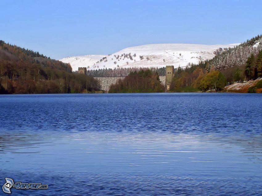 lago, bosque, cerro nevado, presa