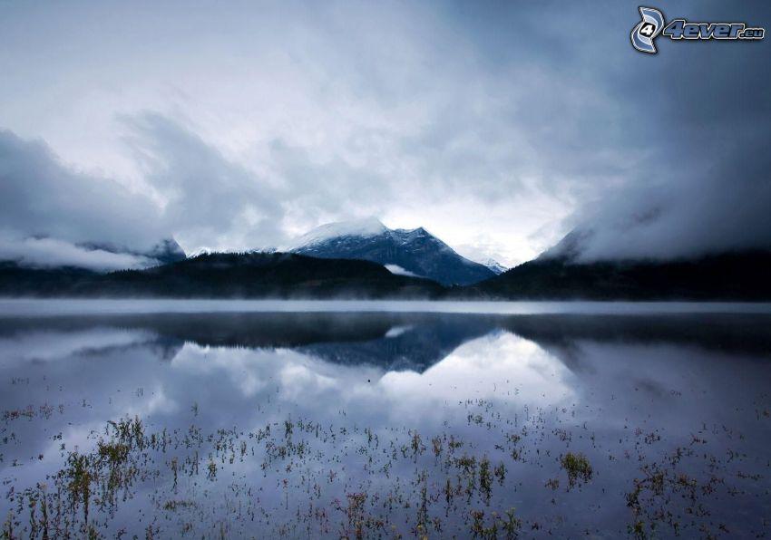 lago, colina, nubes