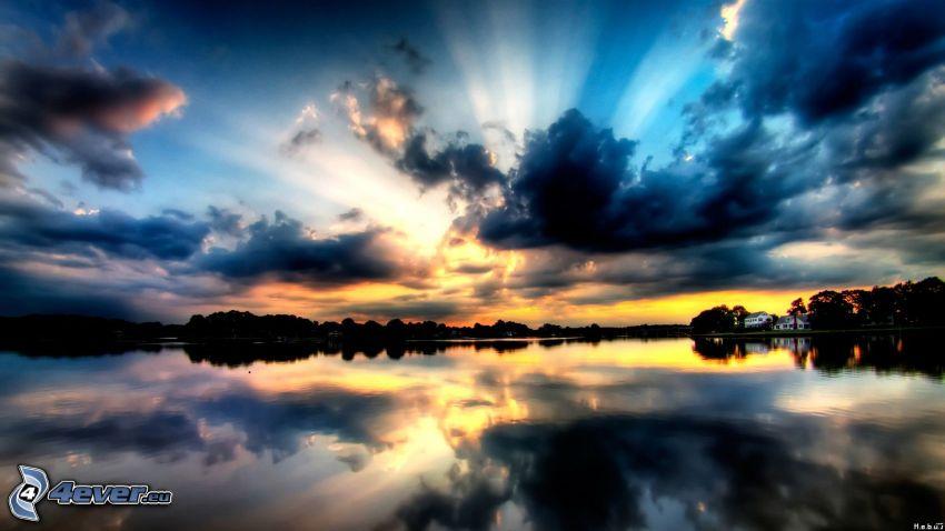 lago, horizonte, cielo, nubes