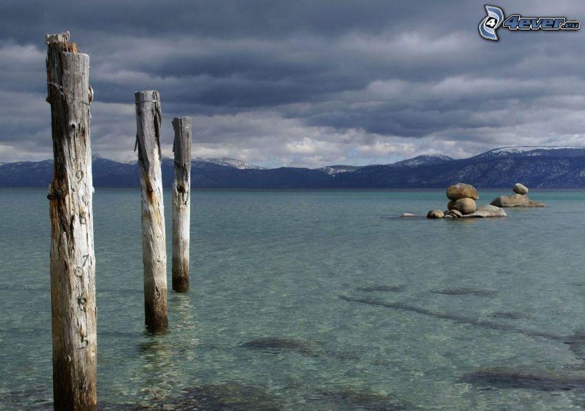lago, madera, piedras