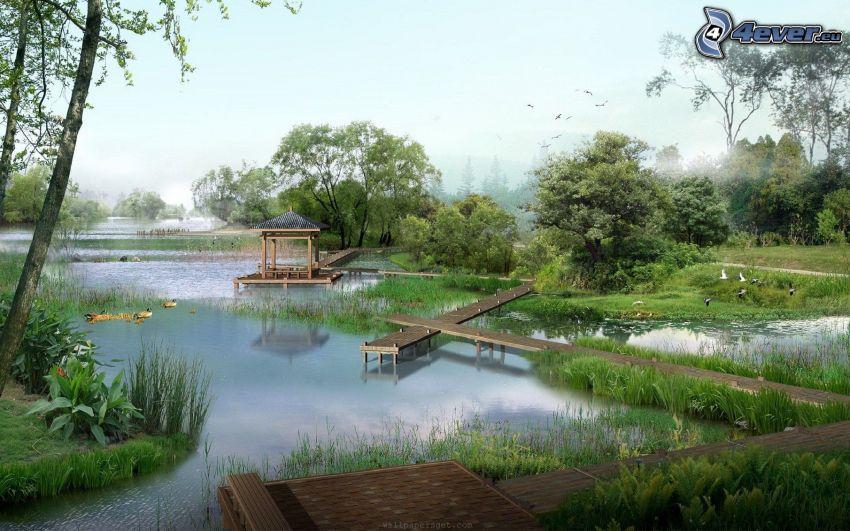 lago, muelle de madera, verde