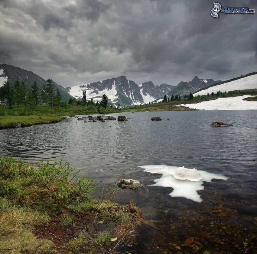 lago, nieve, montaña rocosa, montañas nevadas, nubes