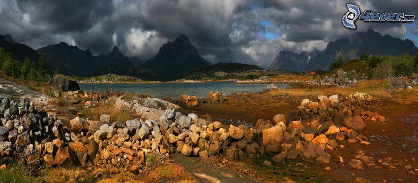 lago, piedras, montañas, nubes