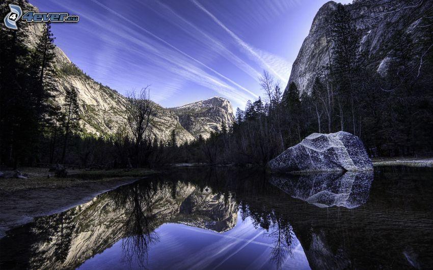 lago, rocas, reflejo