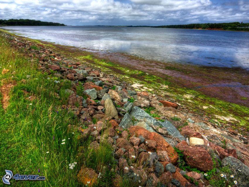 lago, rocas