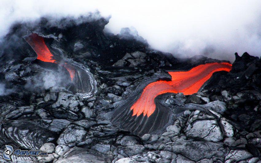 lava, piedras, humo