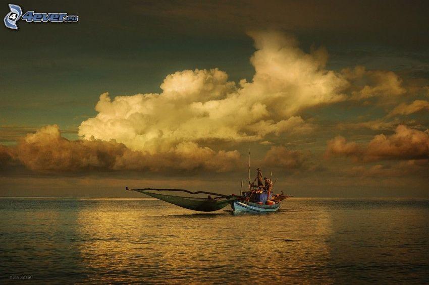 mar, barco, personas, nubes