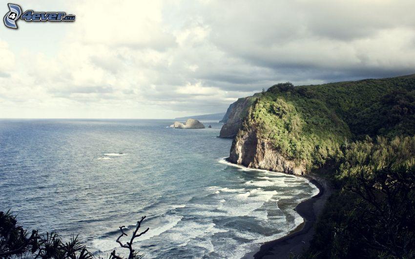 acantilados costeros, vista al mar, costa