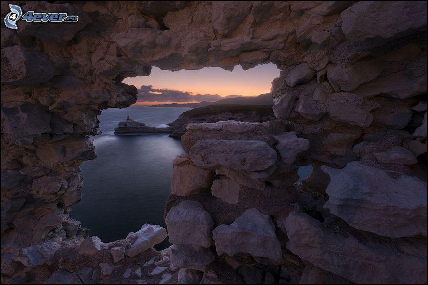 agujero, pared, rocas, mar, después de la puesta del sol