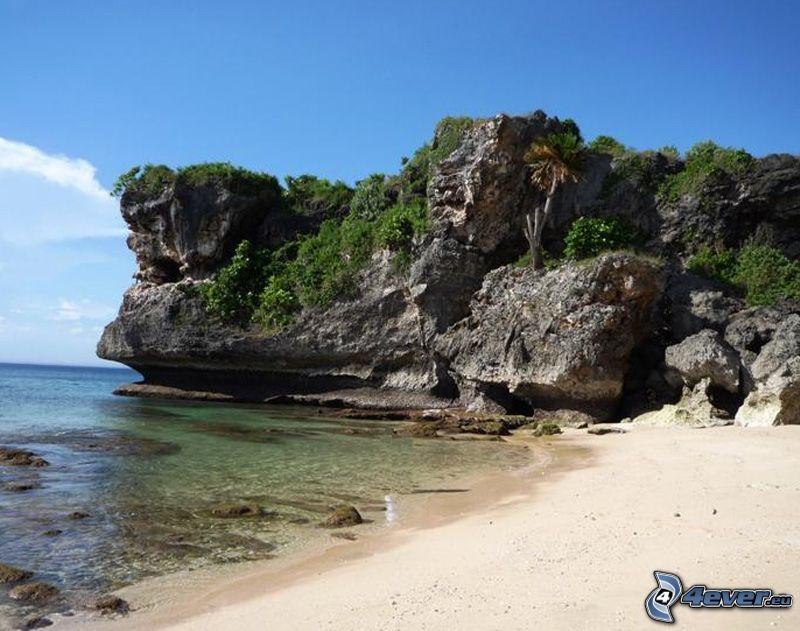 Balangan beach, Bali, acantilados costeros, playa, mar