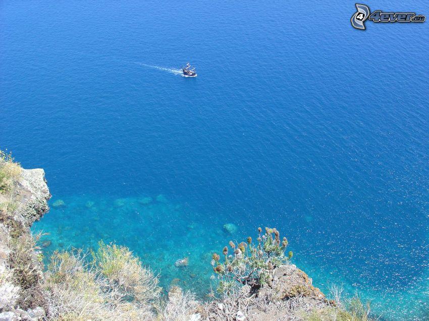 barco en el mar, mar, costa