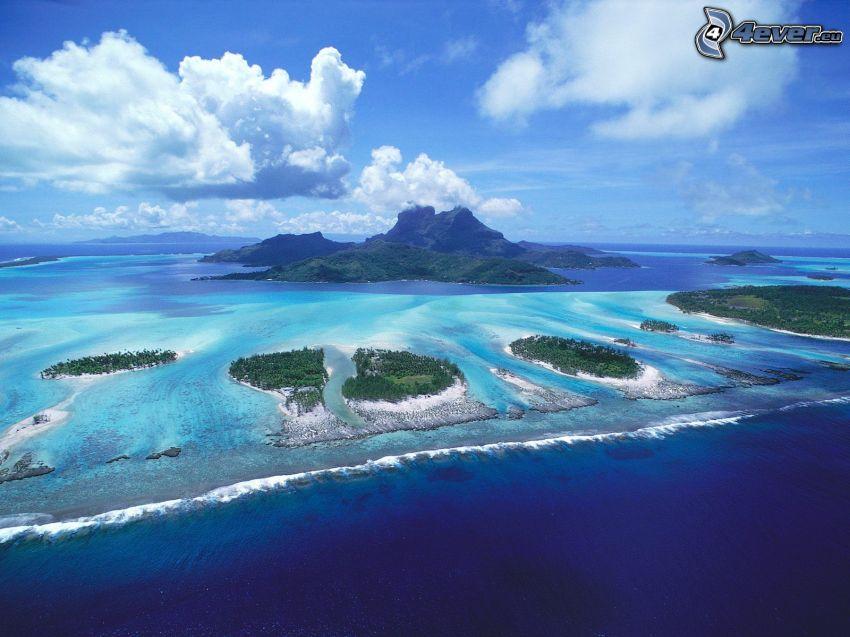 Bora Bora, islas, mar
