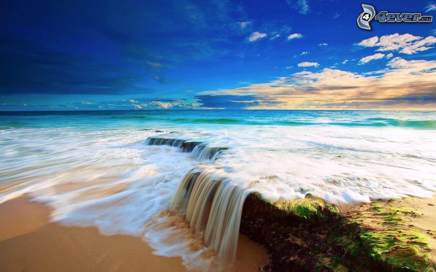 cascada, mar