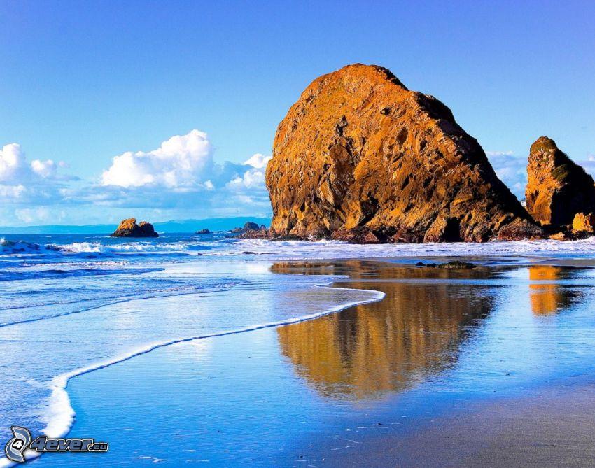 costa, roca, mar