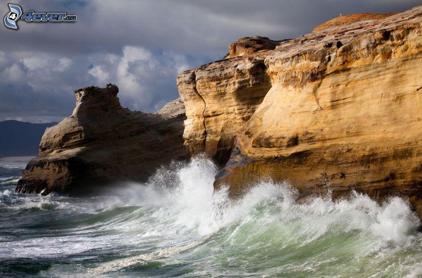 costa rocosa, arrecife, mar