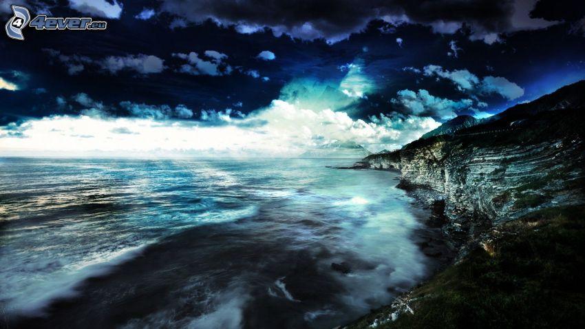 costa rocosa, mar, noche