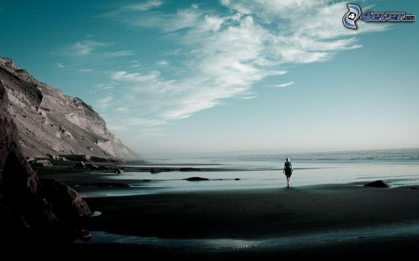 costa rocosa, playa de arena, hombre, mar