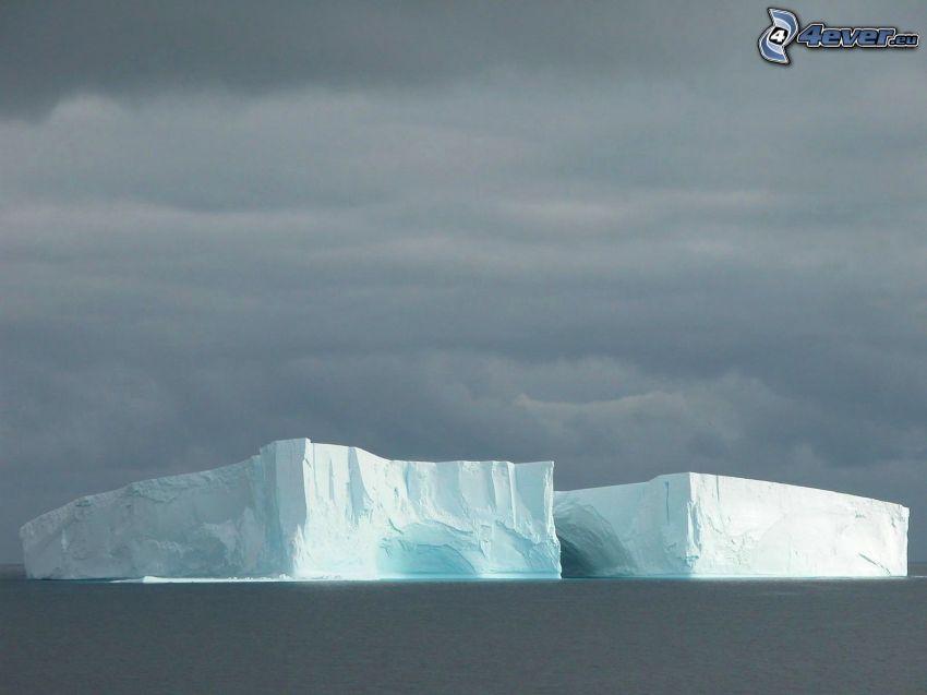 glaciar, mar, nubes oscuras