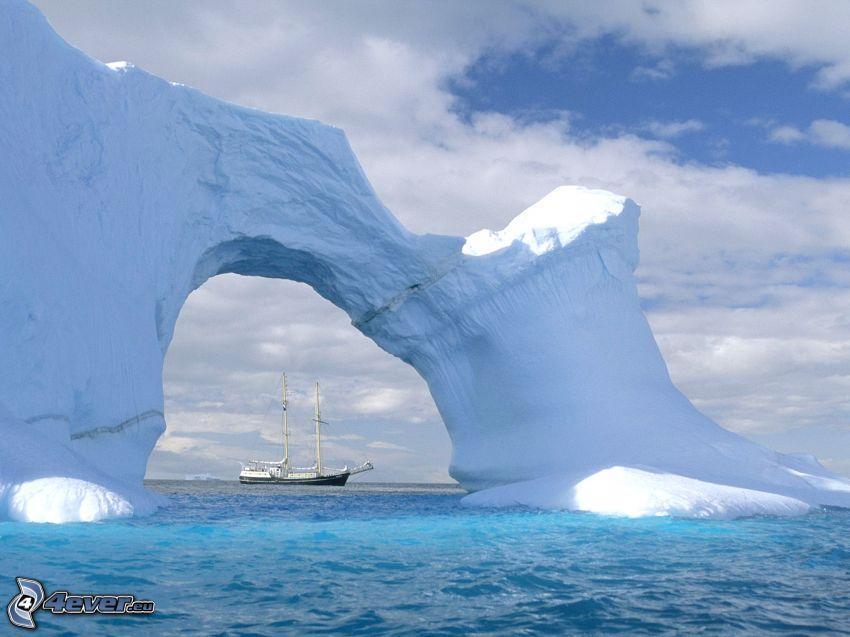 glaciar, nave, Antártida, océano