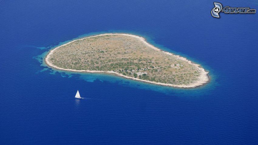 isla, barco en el mar, mar