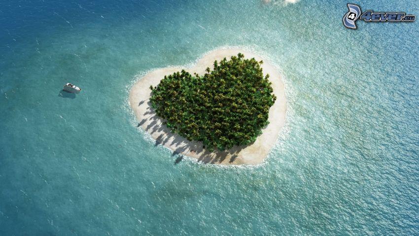 isla, corazón, mar, nave