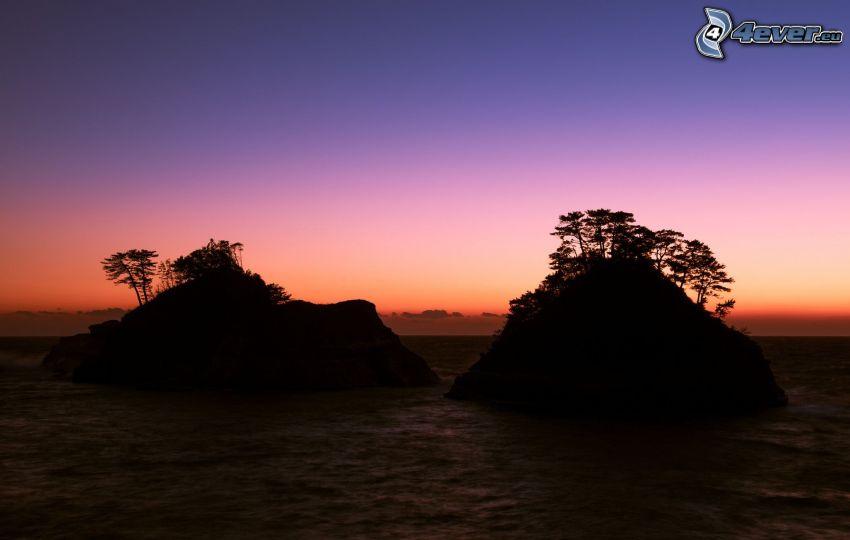 islas, mar, después de la puesta del sol, cielo de la tarde