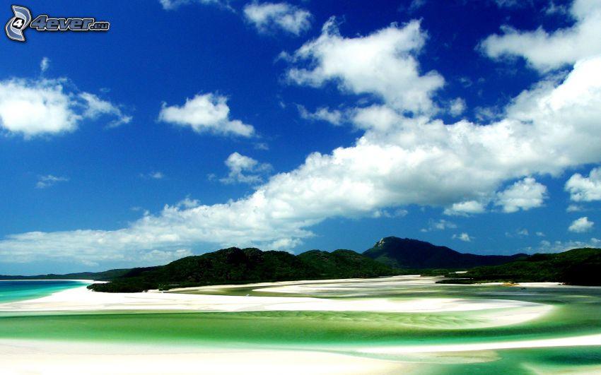 islas, mar, nubes