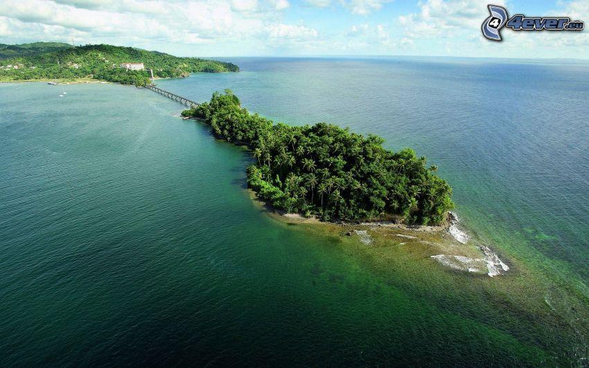 isleta de palmeras, mar, puente