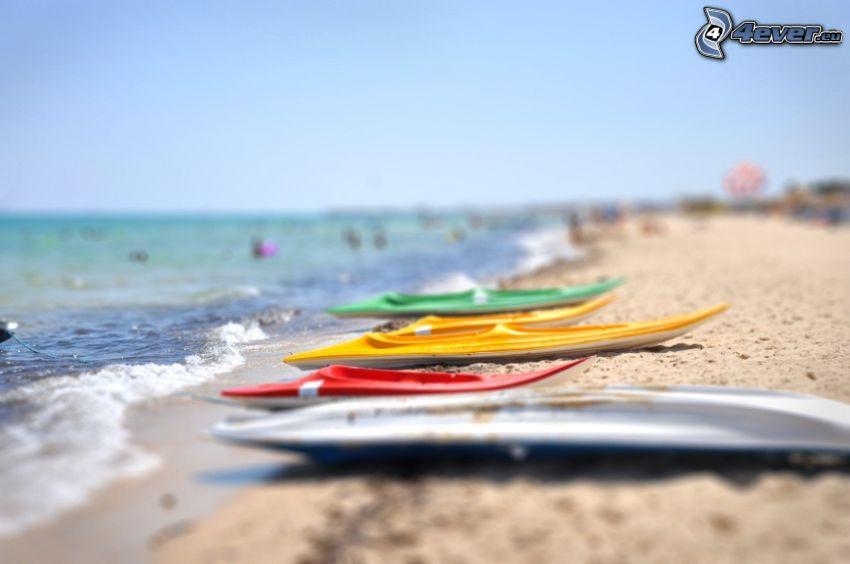 kayak, playa de arena, diorama