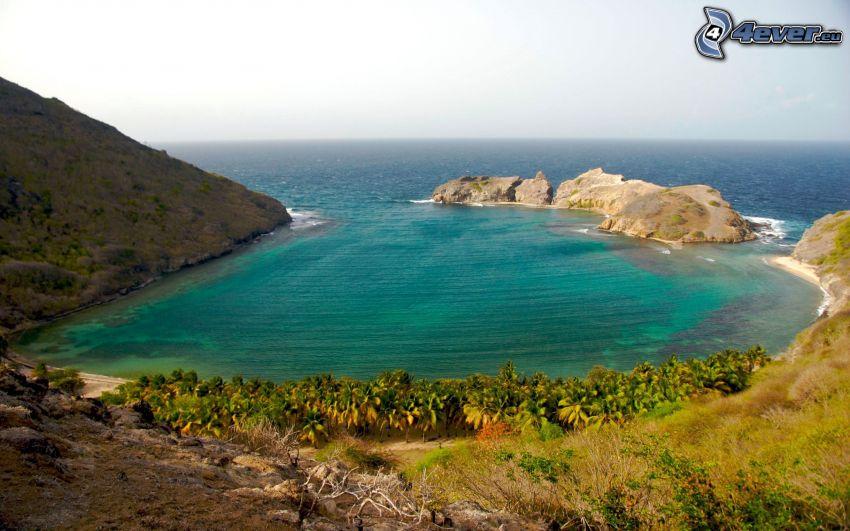 laguna, costa, vista al mar