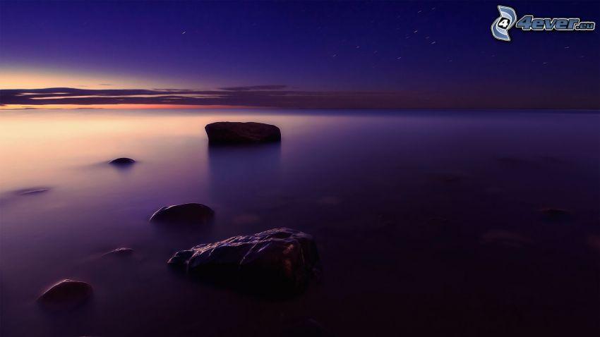 mar, alba de noche